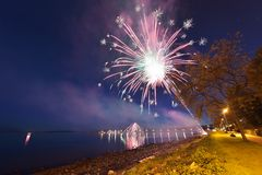 Miasto biel skały fajerwerku pokaz Zdjęcia Royalty Free