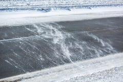 miasto blisko kolejowych drogowych połysk snow słońce zima drewno Dryfy, śnieg Zdjęcie Royalty Free