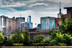 Miasto Boston linia horyzontu na chmurnym dniu obraz stock