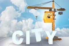 Miasto budowy pojęcie z żurawiem - 3d rendering Obraz Stock