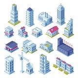 Miasto budynków 3d isometric projekcja dla mapy Domy, wyprodukowany teren, magazyn, ulicy i drapacza chmur budynek, royalty ilustracja