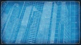 Miasto budynków nakreślenia projekta 4K pętla zbiory