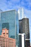 Miasto budynków w centrum grupa Chicagowską rzeką Zdjęcie Royalty Free