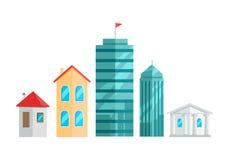 Miasto budynków Wektorowa ilustracja W Płaskim projekcie royalty ilustracja
