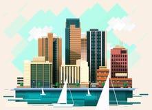 Miasto budynki ilustracyjni Zdjęcia Stock