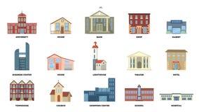 Miasto budynki ustawiający ilustracji