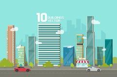 Miasto budynki wzdłuż ulicznej drogowej wektorowej ilustraci, pejzaż miejski kreskówki płaski styl, nowożytni duzi wzrostów drapa Zdjęcie Stock