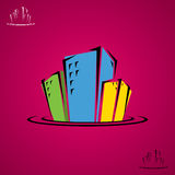 Miasto budynków doodle Zdjęcia Royalty Free