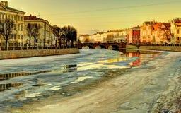 Miasto bulwar w zimie Zdjęcia Stock
