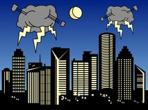 miasto burza ilustracji