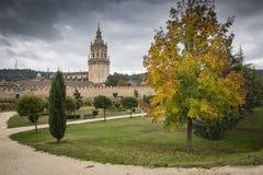 Miasto ściana i katedra w jesieni, Burgo de Osma na deszczowym dniu, Soria Obrazy Royalty Free