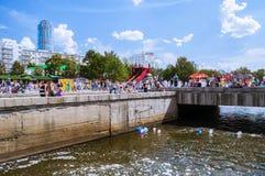 Miasto dnia świętowania w Yekaterinburg, Rosja Obraz Royalty Free