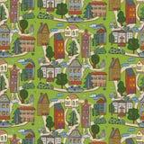 Miasto domów wzór Obrazy Royalty Free