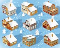 Miasto domy w perspektywie (zima) ilustracja wektor