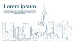 Miasto drapacza chmur nakreślenia widoku pejzażu miejskiego linia horyzontu ilustracja wektor