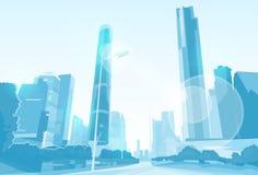 Miasto drapacza chmur widoku pejzażu miejskiego linii horyzontu wektor Zdjęcia Stock