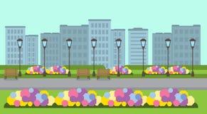 Miasto drewnianej ławki latarni ulicznej zieleni parkowy gazon kwitnie szablonu pejzażu miejskiego tła mieszkania sztandar ilustracji