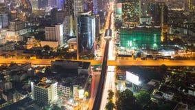 Miasto drogi w centrum krzyża nocy podłączeniowy widok Fotografia Stock