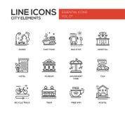 Miasto elementy - kreskowe projekt ikony ustawiać