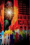 miasto fajerwerk ilustracji