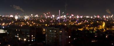 miasto fajerwerki Obrazy Stock