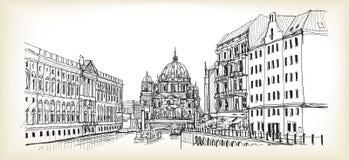 Miasto głąbik w Niemcy Berlińska katedra Stara budynek ręka rysująca ilustracji