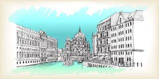 Miasto głąbik w Niemcy Berlińska katedra Stara budynek ręka rysująca Zdjęcia Royalty Free