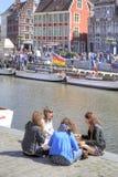 Miasto Ghent miejski krajobrazu Przyjaciele Zdjęcia Stock