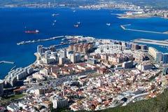 Miasto Gibraltar widok z lotu ptaka Obraz Stock