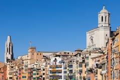 Miasto Girona Stara Grodzka linia horyzontu Zdjęcia Royalty Free