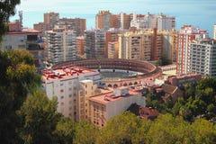 Miasto i arena dla bullfight malaga Hiszpanii zdjęcie royalty free