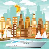 Miasto i morze Fotografia Royalty Free