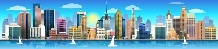 Miasto i natura, wektoru krajobraz ilustracji