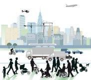 Miasto i ruch drogowy  ilustracji