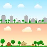 Miasto i wieś ilustracji