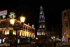 Miasto, Kazan, ulica, bulwar, noc obrazy stock