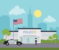 Miasto komenda policji royalty ilustracja