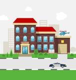 Miasto komendy policji Wydziałowy budynek w krajobrazie Obraz Royalty Free