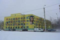 Miasto krajobraz dom i budynki w centrum Dnipro, z ulicą i jezdnią, zimny zima sezon z śniegiem zdjęcie royalty free