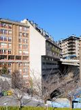 Miasto krajobraz, Europa - budynki w kapitale książe Andorra, Andorra los angeles Vella - obrazy royalty free