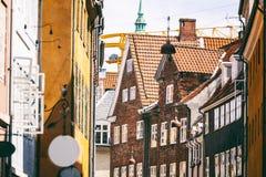 Miasto krajobraz, Kopenhaga, jaskrawe fasady budynki Fotografia Stock