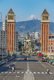 Miasto krajobraz od Barcelona, miejsce Espana, 01 2016 Listopad Fotografia Royalty Free