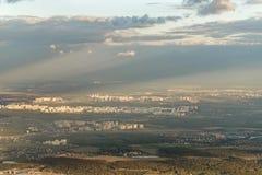 Miasto krajobraz od samolotu fotografia stock