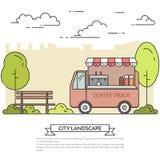 Miasto krajobraz z ławką, kawy ciężarówka w parkowej Kreskowej sztuce Zdjęcie Royalty Free