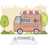 Miasto krajobraz z kawy ciężarówki parka Kreskową sztuką publicznie Obraz Stock