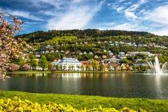 Miasto krajobraz z Spokojnym jeziorem, Zielona trawa i góra, Czereśniowi okwitnięcia w wiosny świetle słonecznym zdjęcia stock