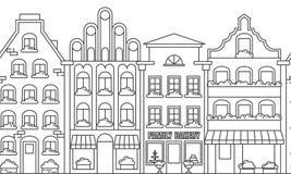 Miasto krajobrazu granicy bezszwowy wzór z mieszkanie domami Kreskowej sztuki wektoru ilustracja ilustracja wektor