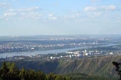Miasto Krasnoyarsk na Yenisei rzece Obrazy Royalty Free