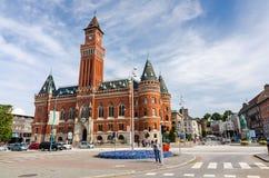 Miasto kwadrat z widokiem dla urzędu miasta w Helsingborg Obraz Royalty Free
