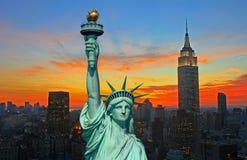 miasto liberty skyline nowy York posąg Obraz Royalty Free